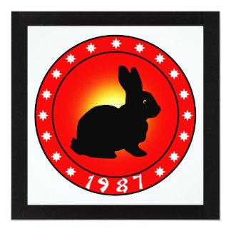 Año del conejo 1987 invitación 13,3 cm x 13,3cm