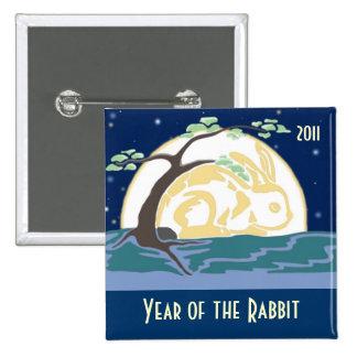 Año del conejo 2011 pin cuadrado