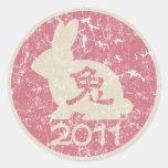 """Año del conejo 2011 """"vintage """" etiquetas redondas"""