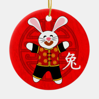 Año del conejo adorno navideño redondo de cerámica