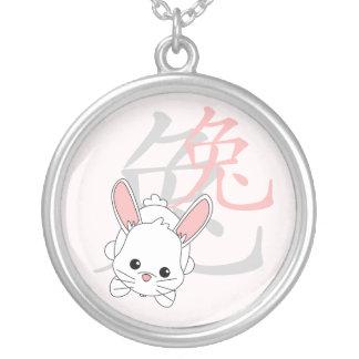 ¡Año del conejo Cutie en rosa! Colgante Redondo