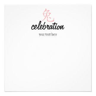 ¡Año del conejo Cutie en rosa Invitación