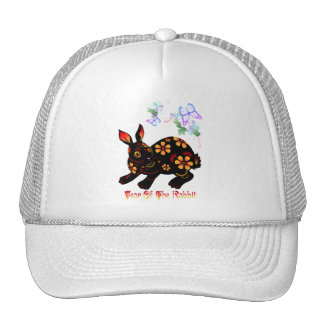 Año del conejo en gorras negros