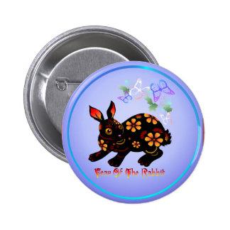Año del conejo en Negro-Botón Pin Redondo 5 Cm