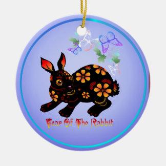 Año del conejo en Negro-Ornamentos Ornamento Para Arbol De Navidad