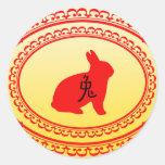 Año del conejo etiqueta redonda