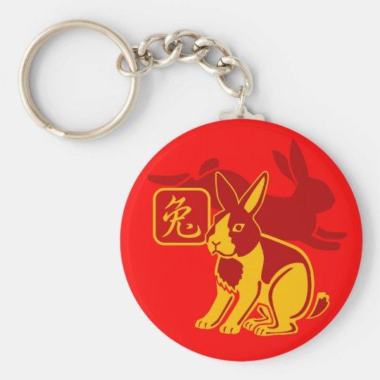 Año del conejo llavero redondo tipo pin