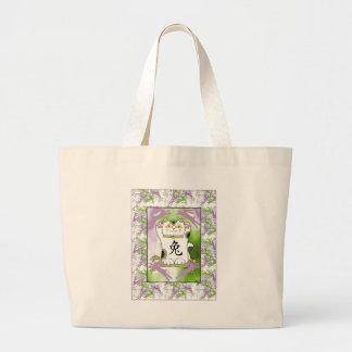 Año del conejo Neko en uva Bolsa Tela Grande