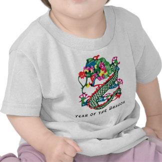 Año del corte del papel de la camiseta del dragón