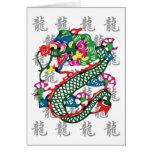 Año del corte del papel del regalo del dragón tarjetas
