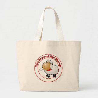 Año del dibujo animado de las ovejas bolsa tela grande