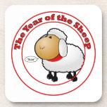 Año del dibujo animado de las ovejas posavasos de bebida
