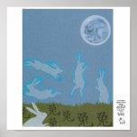 Año del diseño de la luna del conejo posters