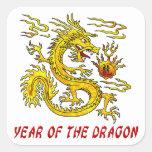 Año del dragón calcomanía cuadradas