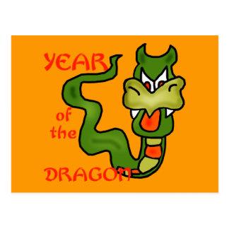 Año del dragón con el dragón del dibujo animado tarjetas postales