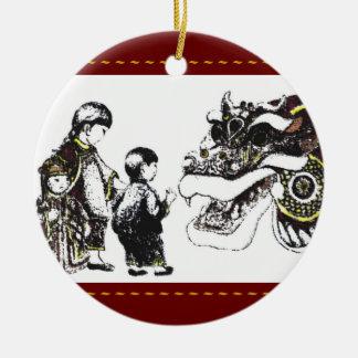 Año del dragón ornamentos de navidad