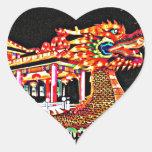 Año del dragón en San Francisco Pegatina Corazon Personalizadas