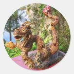 Año del dragón etiquetas redondas