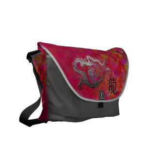 Año del dragón: Jardín de plata y rosado Bolsa De Mensajería