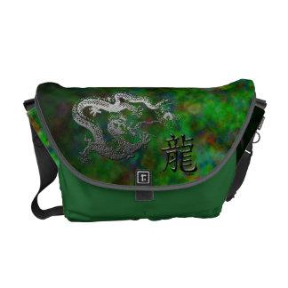 Año del dragón: Jardín de plata y verde Bolsas Messenger