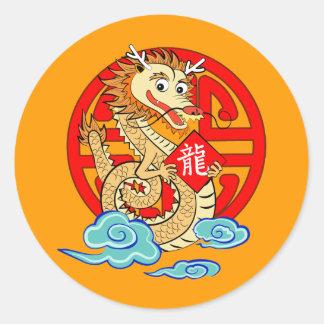 Año del dragón pegatina redonda