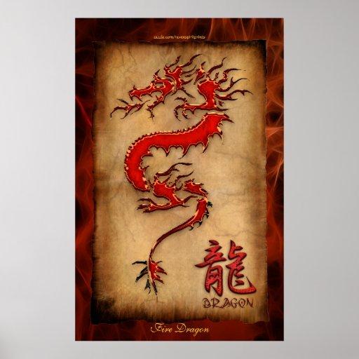 Año del dragón, poster del arte del dragón del fue