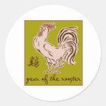 Año del gallo etiquetas redondas