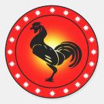 Año del gallo pegatina redonda