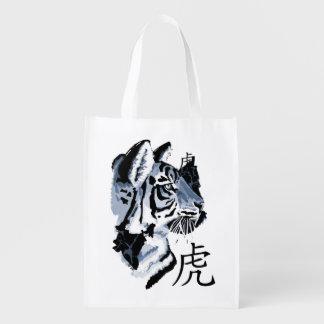 Año del gato grande del tigre bolsa reutilizable