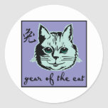 Año del gato pegatina redonda