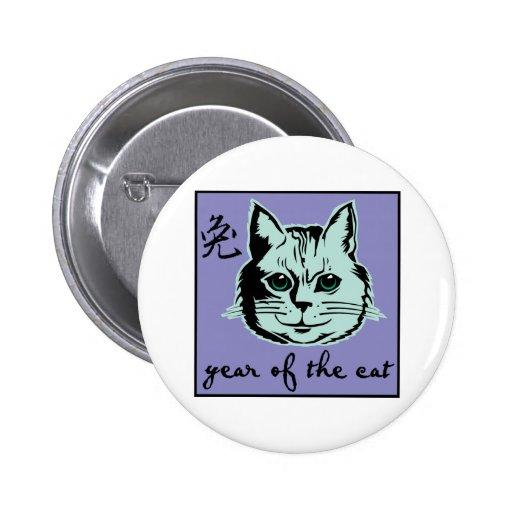 Año del gato pin redondo 5 cm