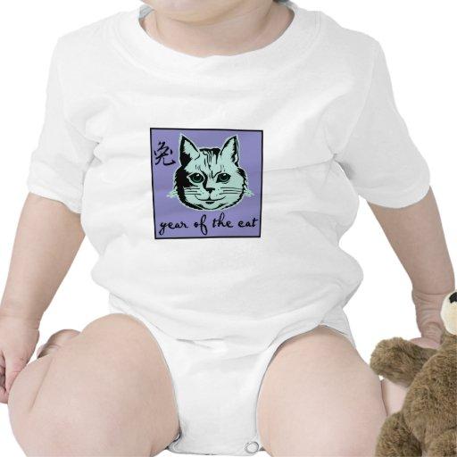 Año del gato trajes de bebé