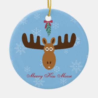 ¡Año del Gnu de Head_Merry Kissmoose_Happy de los  Ornamentos De Navidad