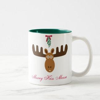 ¡Año del Gnu de Moose_Happy del beso de Head_Merry Taza De Dos Tonos