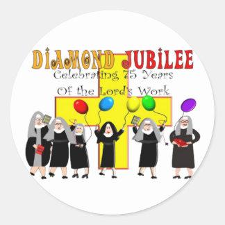 Año del jubileo de diamante de las monjas 75.o de pegatina redonda