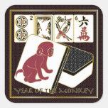 Año del Mah Jongg del mono Pegatina Cuadrada