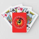 Año del mono 1956 baraja cartas de poker