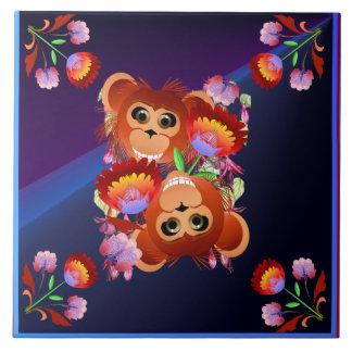 Año del mono azulejo cuadrado grande