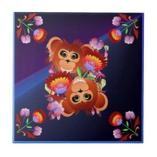 Año del mono azulejo cuadrado pequeño