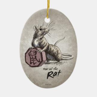 Año del ornamento del óvalo de la rata ornamento para arbol de navidad