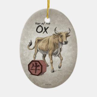 Año del ornamento del óvalo del buey adorno de navidad
