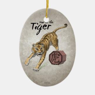Año del ornamento del óvalo del tigre adorno de navidad