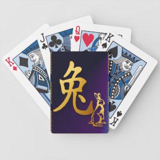 Año del oro de los naipes del conejo baraja cartas de poker
