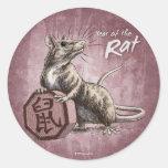 Año del pegatina de la rata - fondo rojo