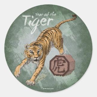 Año del pegatina del tigre verde
