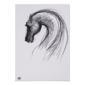 Año del poster del caballo 1 - dibujo del grafito