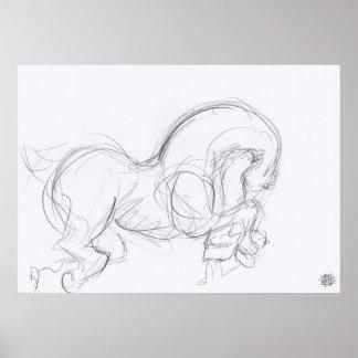 Año del poster del caballo 3 - dibujo original -