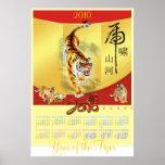 Año del poster del calendario del tigre
