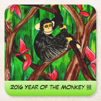 Año del práctico de costa del mono posavasos desechable cuadrado