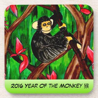 Año del práctico de costa del plástico del mono posavaso